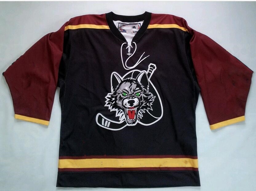 36465a398 Rare Vintage Chicago Wolves Hockey Jersey Embroidery Stitched Customize any  number and name Jerseys
