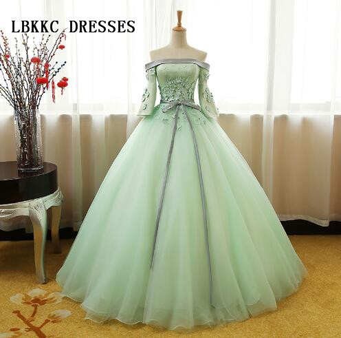 78ed1855381 Light Green Quinceanera Dresses Top Satin With Flowers Tulle Puffy Ball  Gowns Vestido De Debutante Sweet 16 Dresses