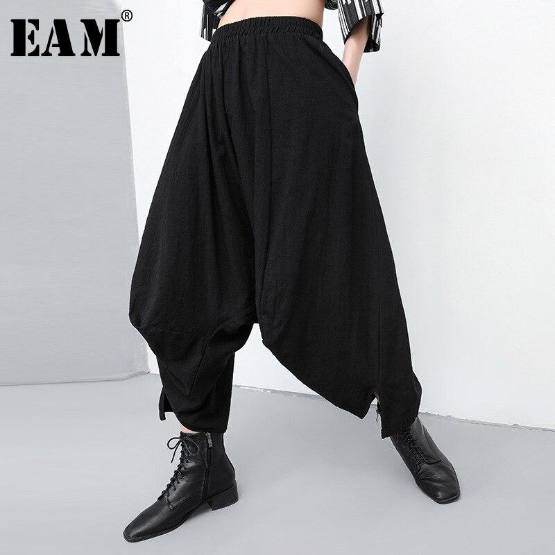 [EAM] 2019 New Autumn Winter High Elastic Waist Black Leisrure Irregular Loose Wide Leg Pants Women Trousers Fashion Tide JQ419
