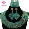 Exclusive Solid Green Crystal Chunky Statement Necklace Set 18K Gold Dubai Women Bridal Jewelry Set Free