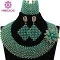 Exclusivo Sólido Conjunto Dubai Oro Verde Crystal Chunky Collar Llamativo Mujeres Joyería Nupcial Conjunto Envío Gratis WA750