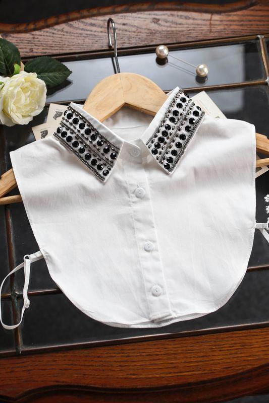 Shirt Imitation Collar crystal flower and rhinestone half saving shirt false collar pendent bead chiffon fake shirt collar