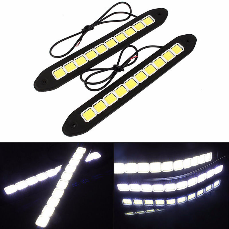 High Quality 2pcs 12V 20W Car Waterproof COB 10 LED Strip DRL Daytime Running Light Auto Car Super Bright White Strip Lamp 2 pcs universal super bright 5 led 10w daytime running light for auto car light drl auxiliary lamp quality assured wholesale