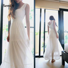 Semfri White Beach Maxi Dress Summer Elegant Chiffon Fashion Long Green Dresses 2019 Sling High Quality Clothing