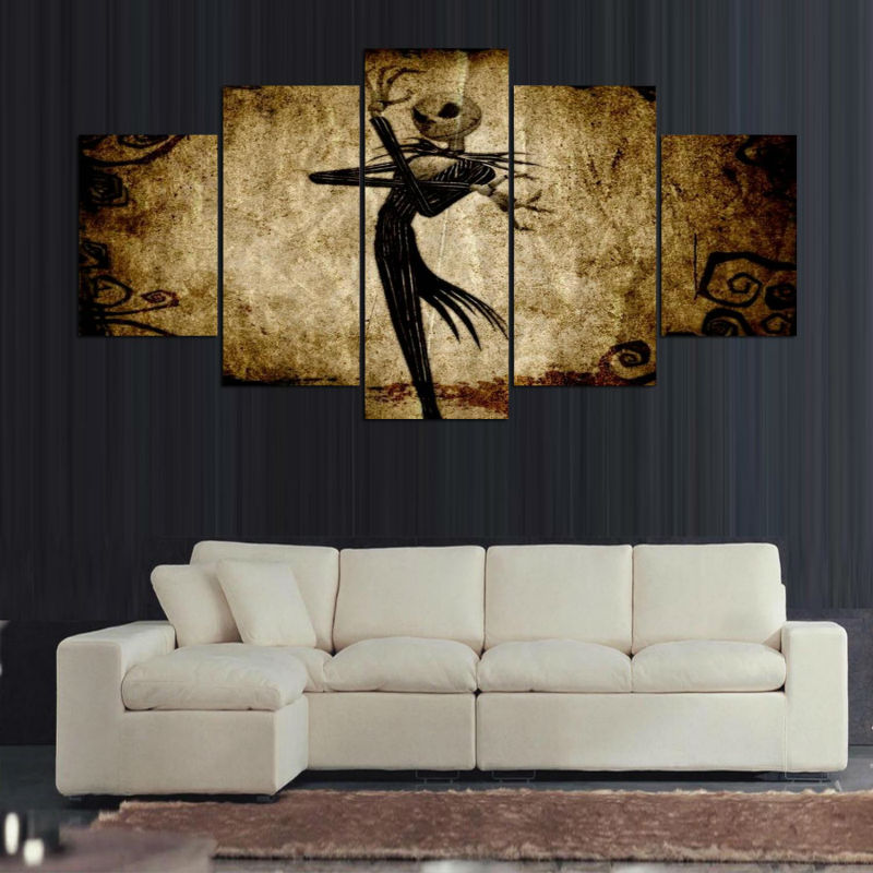 canvas 5 panel cartoon movie nightmare before christmas home decor wall art pictures painting for living room prints ygyt in painting calligraphy from