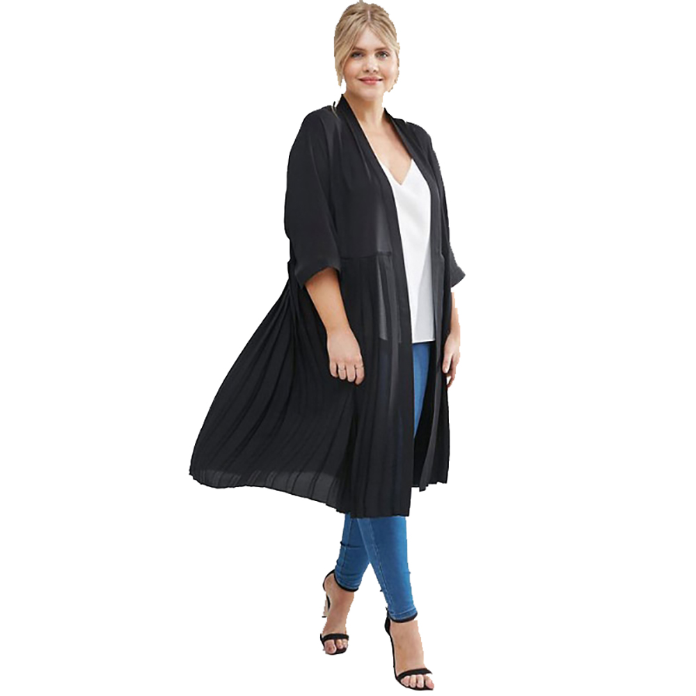 Plus Size Draped Back Dovetail Chiffon   Trench   Women Three Quarter Sleeve Elegant   Trench   Coat Black Open Stitch Outwear