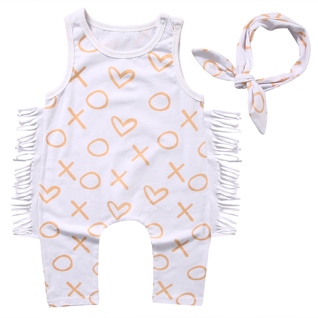 Summer Lovely Newborn Kids Baby Girls Clothes Sets Tassel Sleeveless Romper Jumpsuit Headband 2Pcs Outfits Clothes Set Clothing