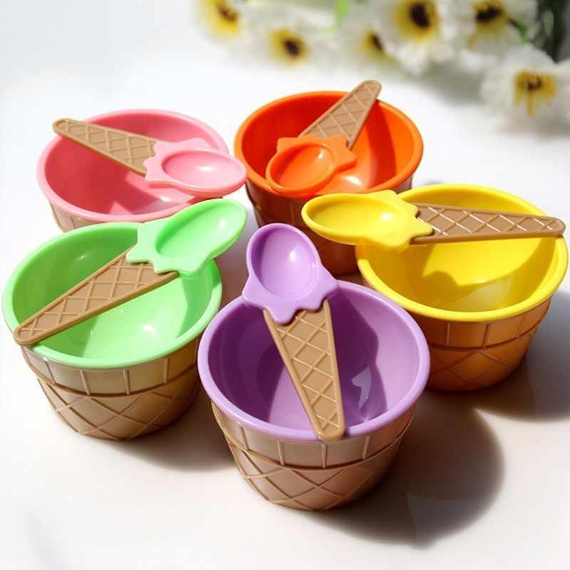 6/12 conjunto um adorável crianças sorvete tigelas copo de sorvete casais tigela sobremesa sorvete tigela com uma colher crianças utensílios de mesa bol # d