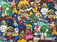 145X100cmการ์ตูนSuper Mario Brosครอบครัวผ้าโพลีเอสเตอร์เด็กเสื้อผ้ากระเป๋านักเรียนผ้าม่านตารางผ้าDIY