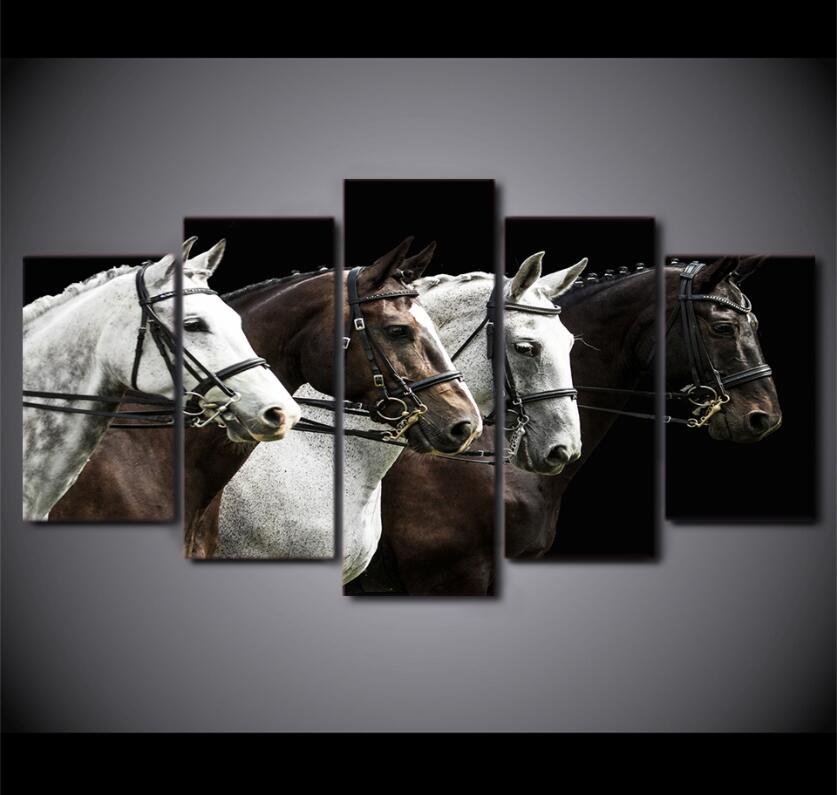 JIE DO ART 5 Pcs Wall Art Canvas Painting 5 Piece HD Print Black And Brown Horse Race Posters and Prints Canvas Art Home Decor