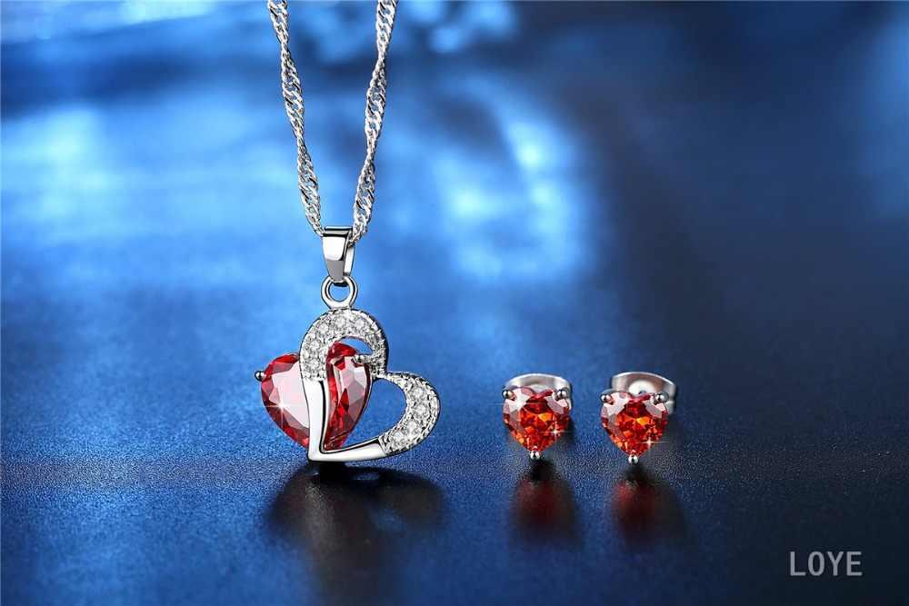 Rot/Lila/Weiß Kristall Afrikanischen Schmuck Sets 925 Silber Herz Strass Braut Halskette Ohrringe für Frauen Weihnachten Geschenk