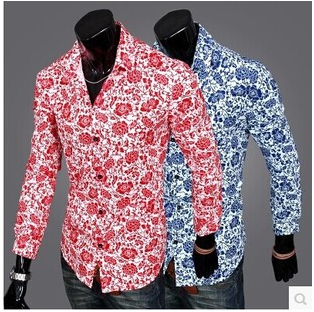 edce65c104 New 2016 Brand Men s Shirts Fashion Casual movement Man Blouse Full Shirt  Flower pattern Men Clothes Blusinhas Camisa Masculina