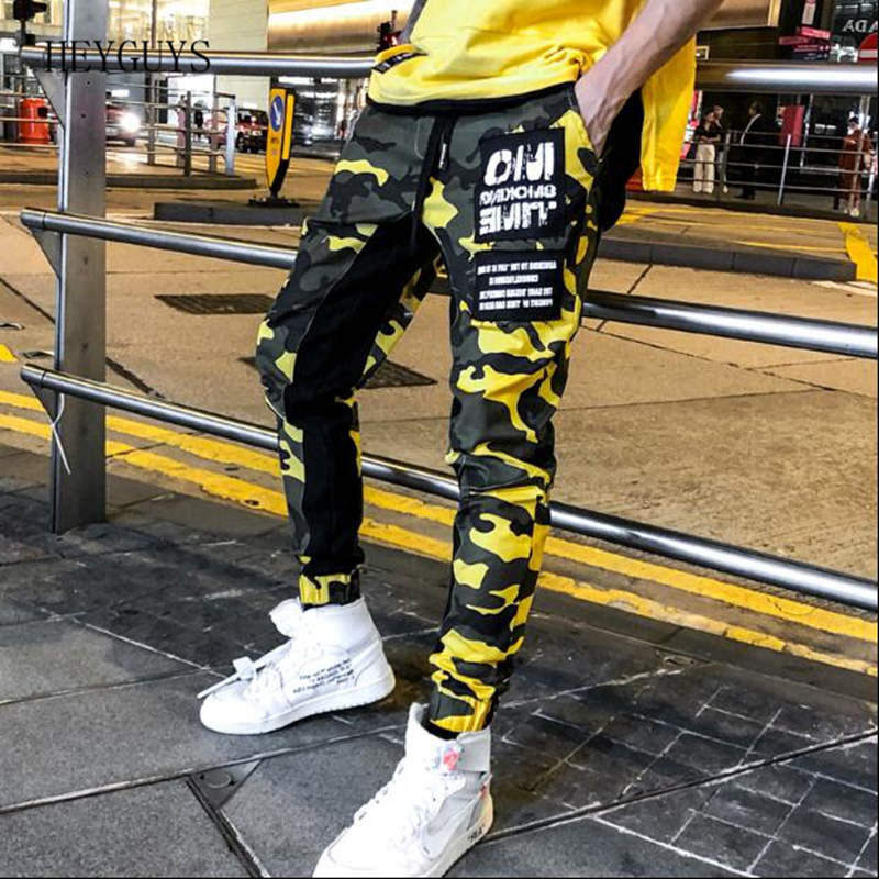 HEYGUYS Streetwear Joggers Cargo-Pants Camouflage Trousers Patchwork Men's Casual Fashion