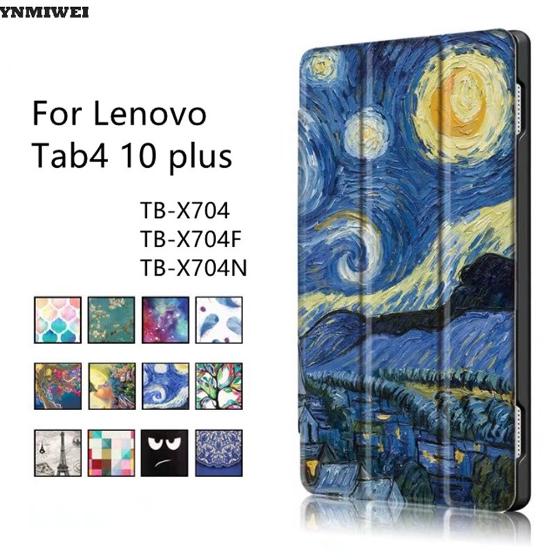 Leather Case For Lenovo TAB4 10 Plus Slim Color Printing Stand Case Cover For Lenovo Tab 4 10 Plus TB-X704F TB-X704N Protector