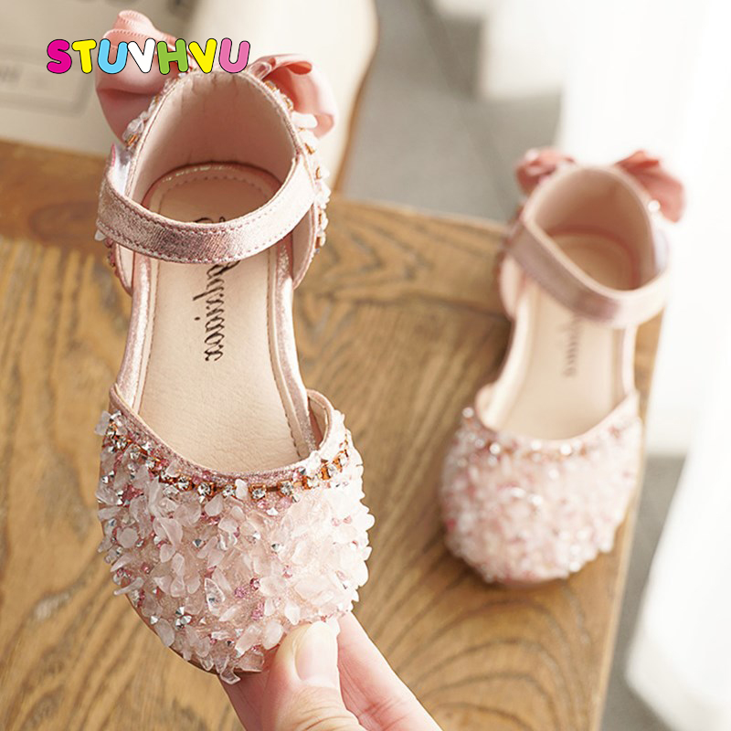 Girls Princess Sandals 2020 Summer New Baby Girl Shoes Toddler Kids Sandals Rhinestone Sequins Bow Dance Children Shoes