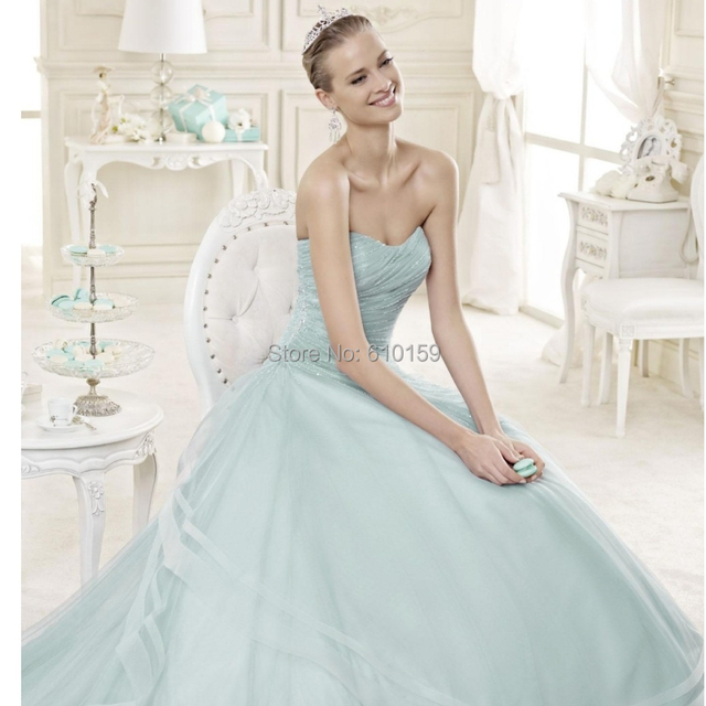 2015summer new romantic beach wedding dresses light blue sweetheart ...