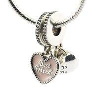 Подходит Pandora Браслеты лучшие друзья шарма розовой эмалью authertic стерлингового серебра 925 DIY Создание бусы оптовая продажа