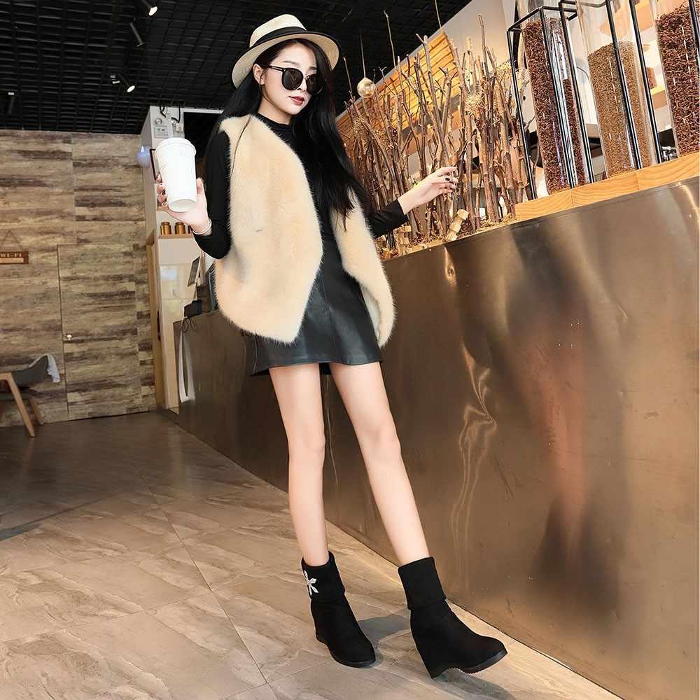 YOUYEDIAN รองเท้าผู้หญิง 2019 ฤดูหนาวรองเท้าคริสตัลเพิ่ม Wedges หญิงรองเท้าสีดำรองเท้าบูท Botas Mujer