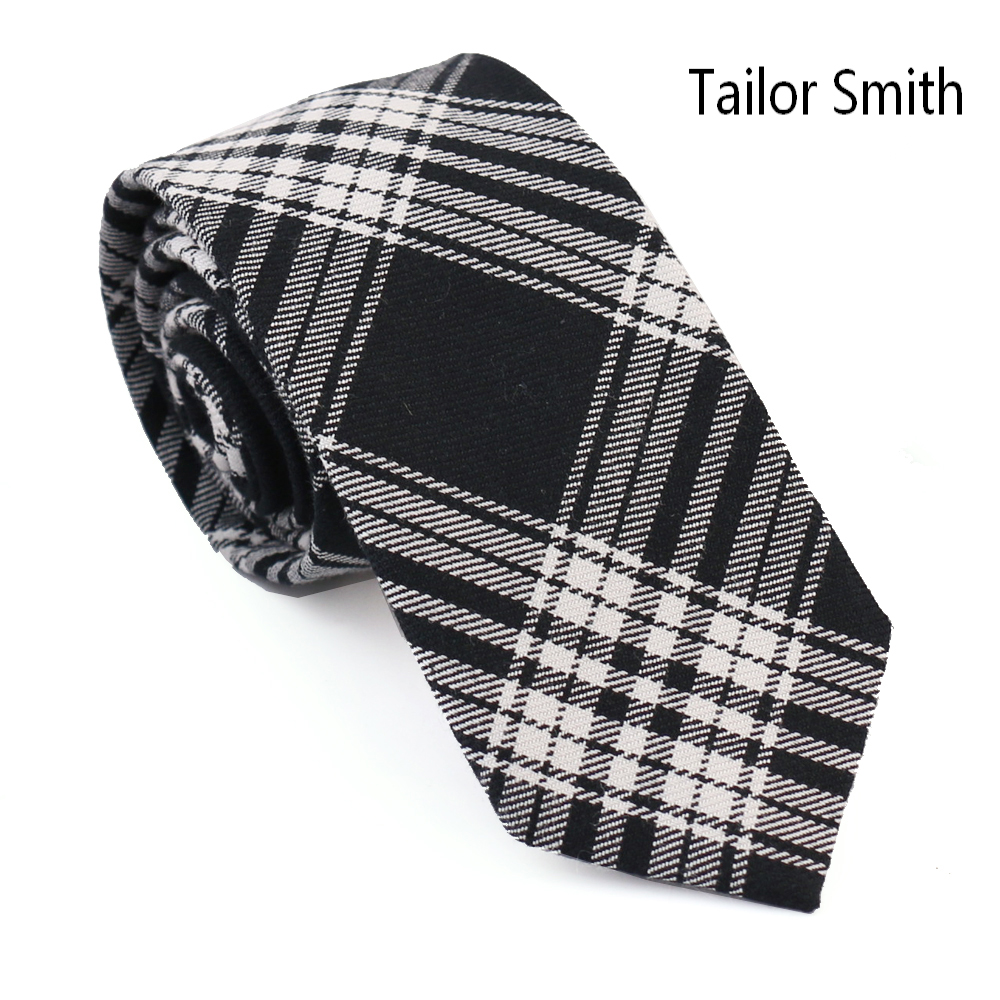 Tailor Smith 100 Cotton Plaid Designer Tie Fashion Checked font b Tartan b font Necktie Casual