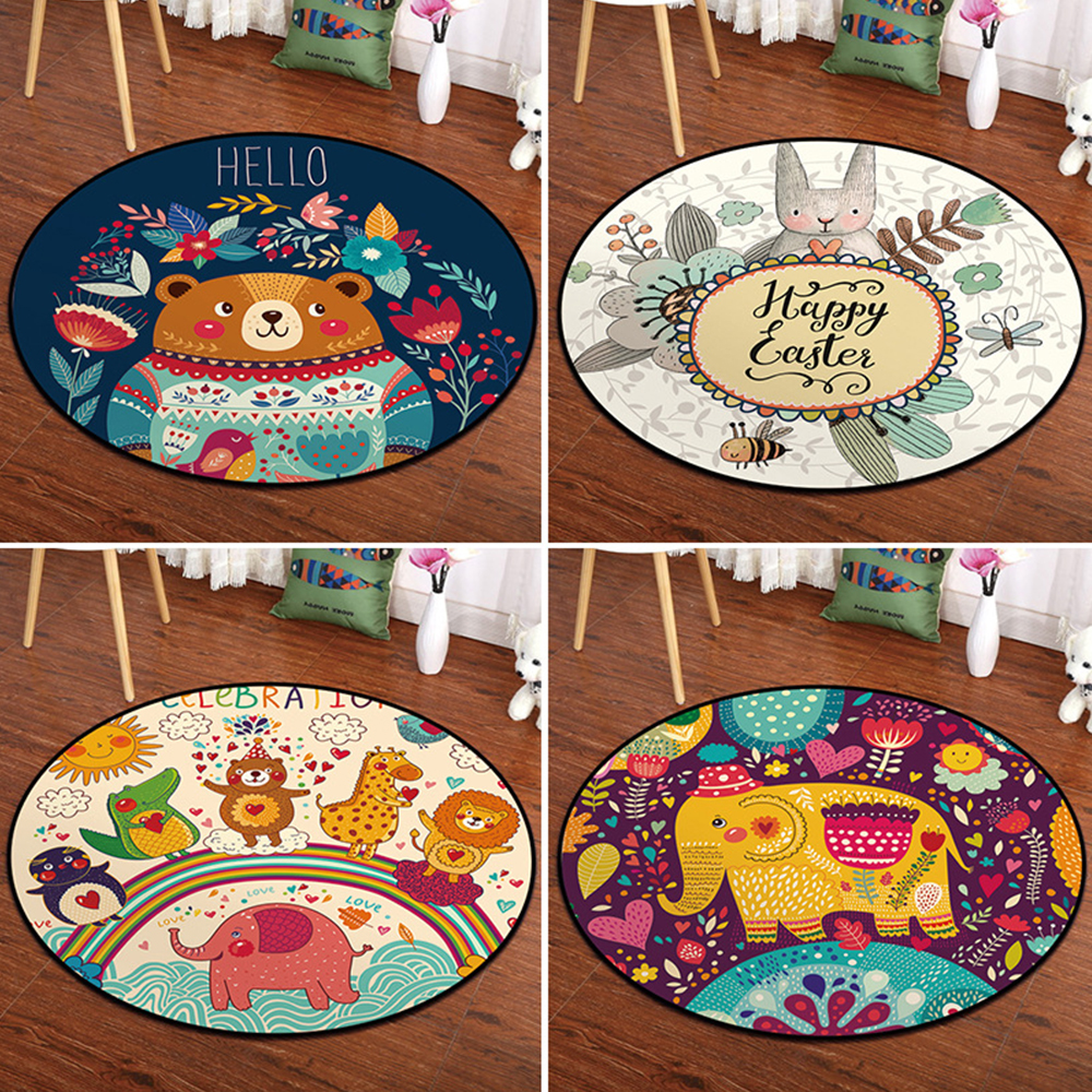 Cartoon Circle Mat Kids Child Climbing Pad Nordic Style Bedroom Baby Room Decor Animal Printed Toddler Activity Playmat Gym