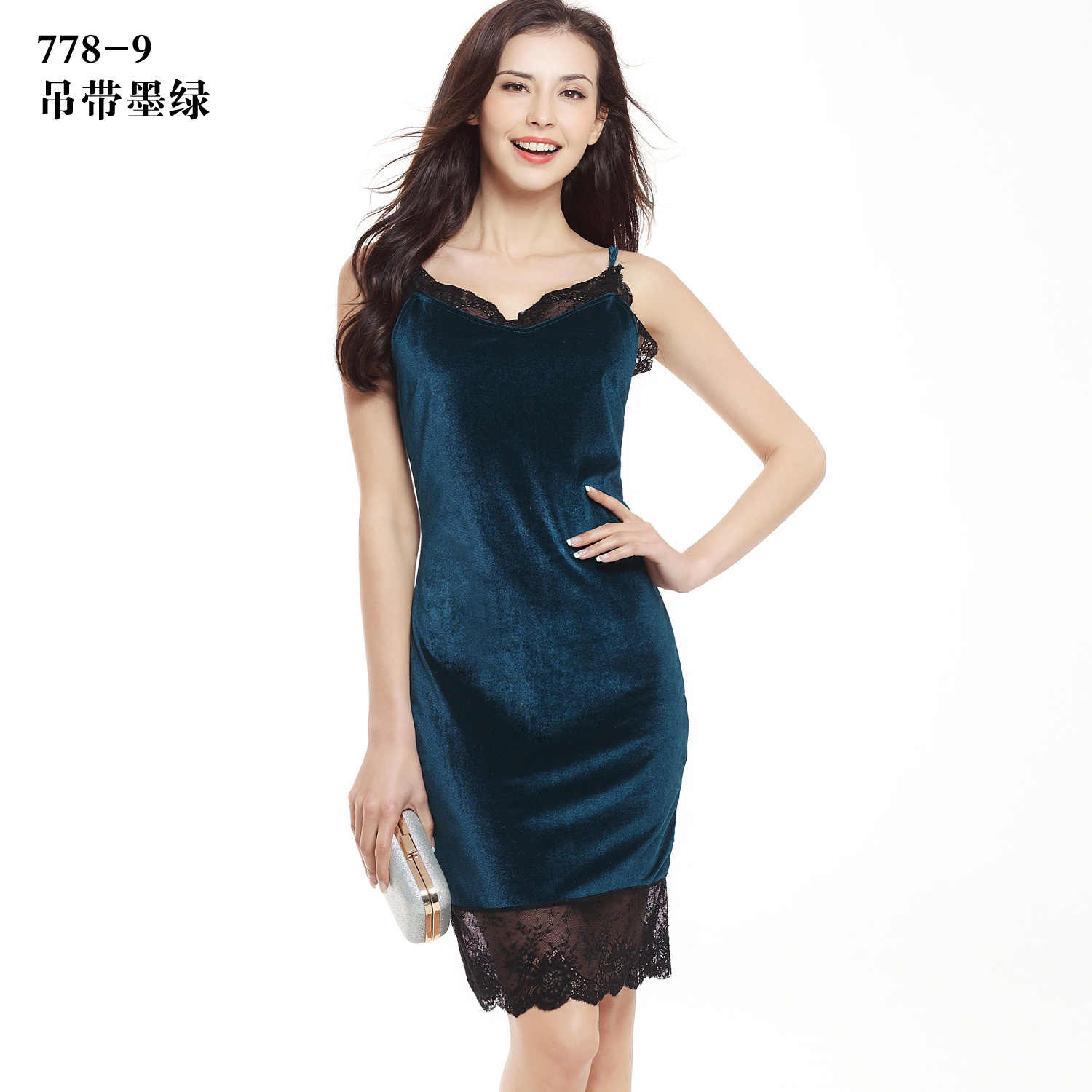 927768c51769c ... Hot sale women dresses new arrival sexy lace stitching swan gold velvet  harness dress ebay bag ...