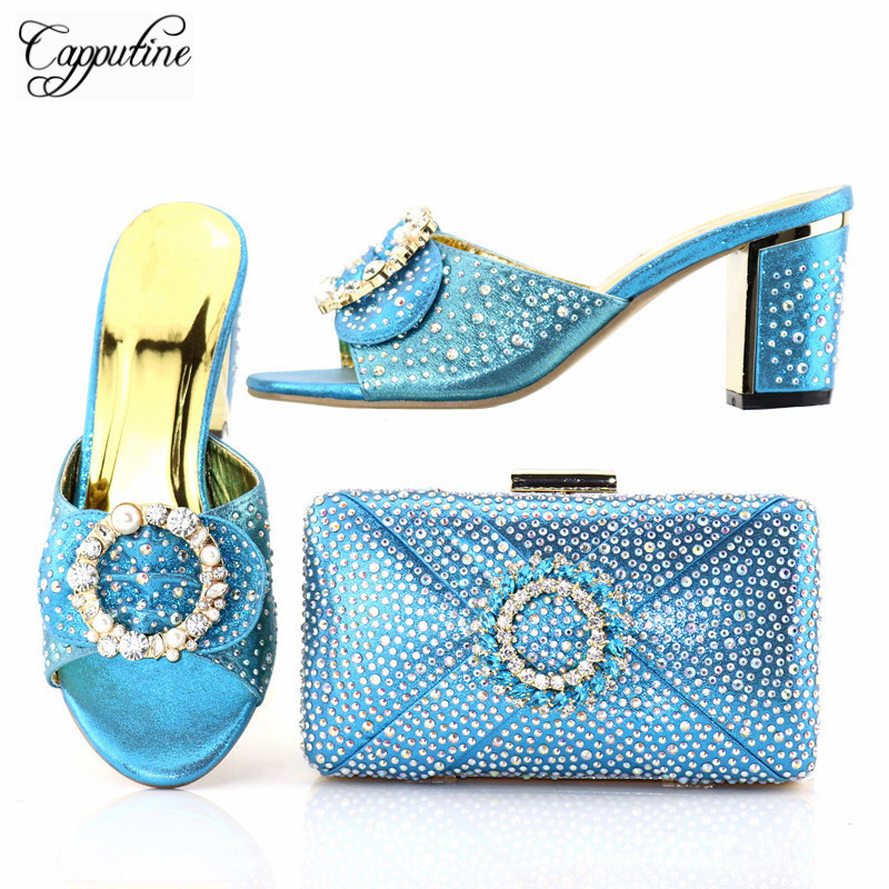 Capputine New Arrival Summer Decorated With Rhinestone Women Shoes And Bag Set Italian Style Party Shoes And Bags To Match Set
