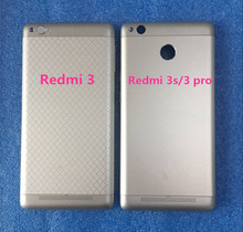 Axisinternational For five.0″ xiaomi redmi three redmi 3s redmi three professional Battery Again Cowl case +facet keys +glass lens Grey/silver/gold
