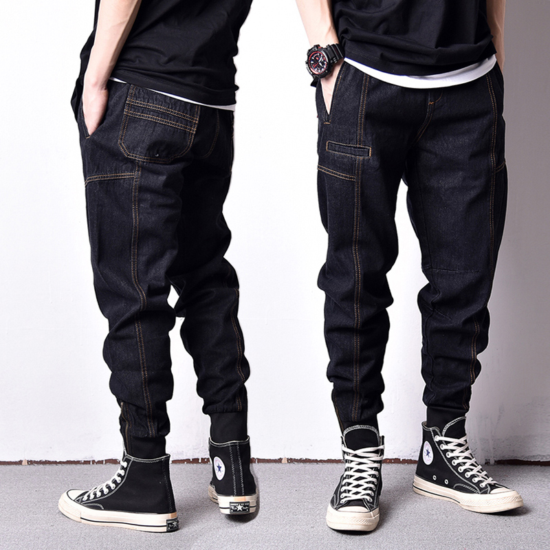 Japanese Style Fashion Men Jeans Loose Fit Ankle Banded Jogger Pants Men Vintage Cargo Pants High Street Hip Hop Jeans Homme