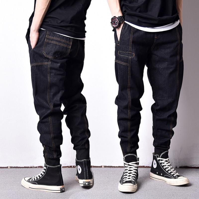 Japanese Style Fashion Men Jeans Loose Fit Ankle Banded Jogger Pants Men Vintage Cargo Pants High Street Hip Hop Jeans homme