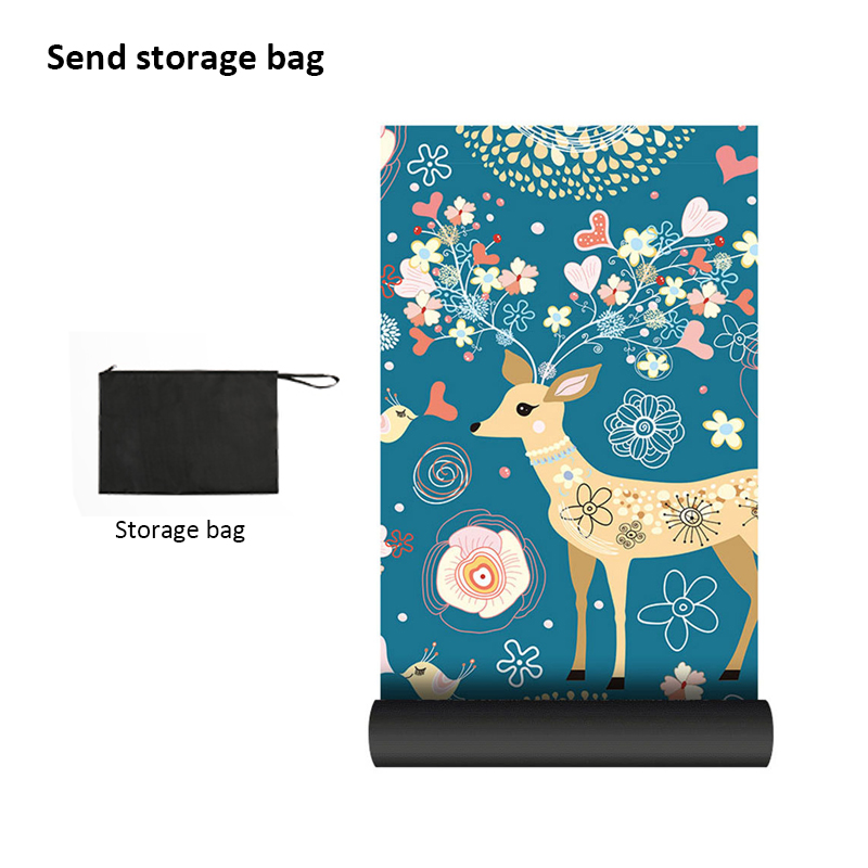 Portable  Yoga Mat Printing Ultra-thin Folding Non-slip Cloth Sweat-absorbent Towel Travel  Pilates  Pad 9