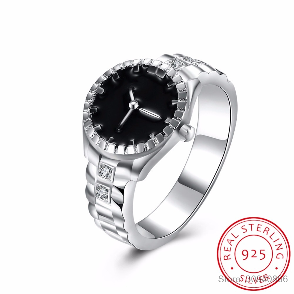 2019 New  925 Sterling Silver Watching Shape Black Enamel Fine Jewelry Wedding Finger Ring For Women Anel Feminino