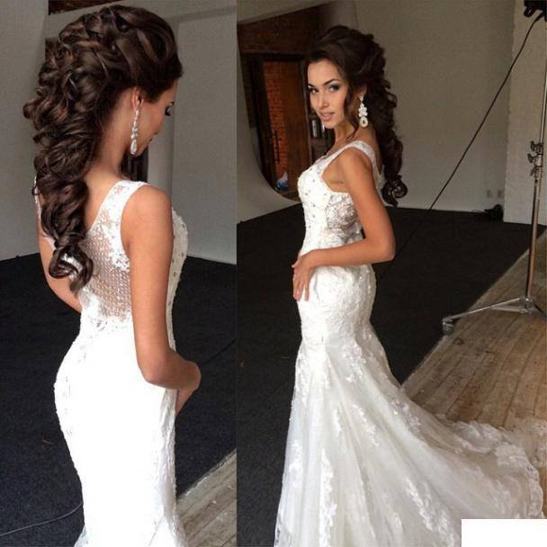 50ddceb89e Sirena v-cuello sin mangas del hombro del Applique del cordón largo Maxi vestido  ajustado