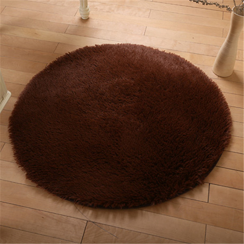 Plush Round Carpets For Living Room Bedroom Anti-slip Swivel Chair Rug Kids Play Floor Rug And Carpets Bath Mat Doormat 80/100cm