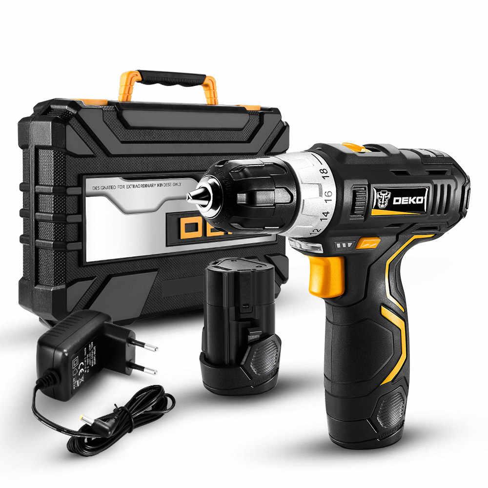 DEKO GCD12DU3 12V Max Obeng Listrik Cordless Drill Mini Nirkabel Power Driver DC Baterai Lithium-Ion 3/8-inch 2-Kecepatan