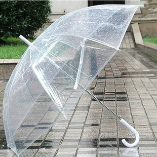 Transparent plastic PVC automatic umbrella sunny rainy creative umbrella  many colors
