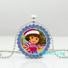 New Fashion Dora Thumbs Up Crystal Necklace Dora The Explorer Pendant Round Anime Jewelry Glass Necklaces Pendants Gifts Girl