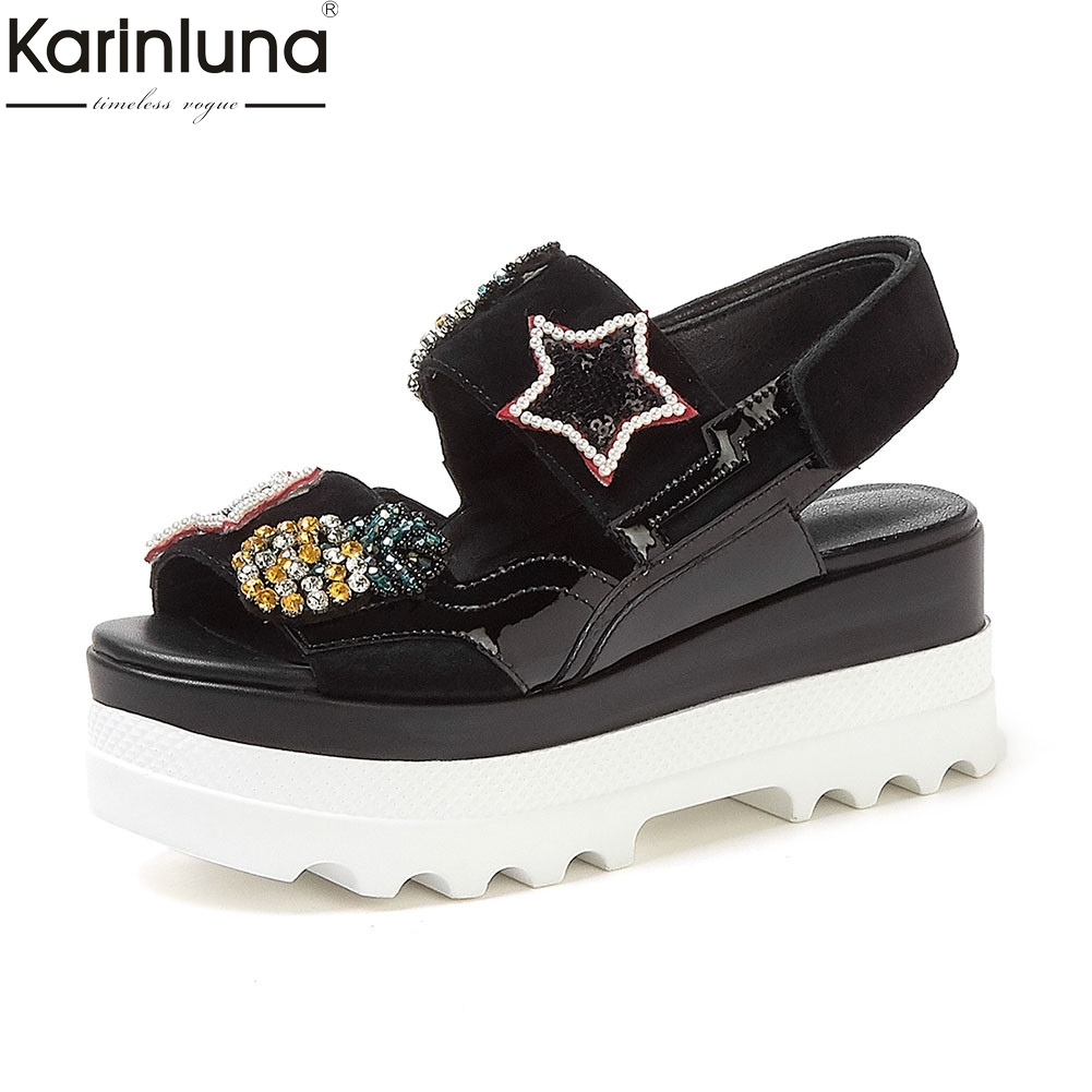 fashion INS hot leisure genuine leather crystal wedges high heels platform shoes woman casual summer sandals 2019fashion INS hot leisure genuine leather crystal wedges high heels platform shoes woman casual summer sandals 2019