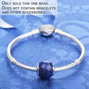 Image 4 - Lapis lazuli 925 ayar gümüş boncuk charms fit bilezik ve bilezikler TRBS004