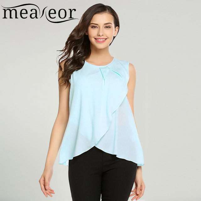 cf589945f22d9c Meaneor Women Blouse Shirt Tops Summer Casual O-Neck Sleeveless Solid Back  Button Asymmetrical Hem