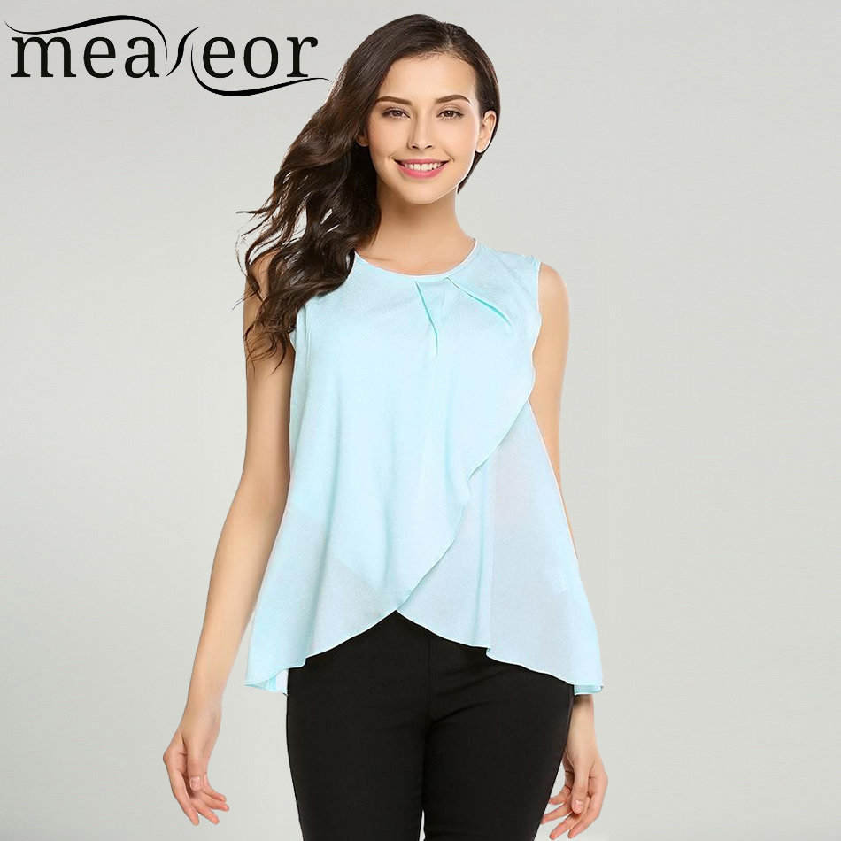 Meaneor Women Blouse Shirt Tops Summer Casual O-Neck Sleeveless Solid Back Button Asymmetrical Hem Loose Chiffon Ladies Blause ...