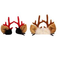 2 Pairs/ 4 Pcs Fashion Christmas XMAS Cute Hair Clips Deer Antlers Mushroom Faux Fur Ball Girls Women Hairpins Hair Accessories