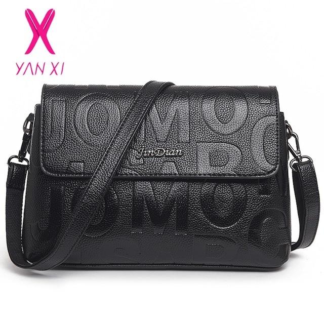 aad04238e2c9 YANXI New Hot Sale Black Embossed Vintage Tote Fashion Women Bags Shoulder  Messenger Letter Designer Handbags Small Square Bag