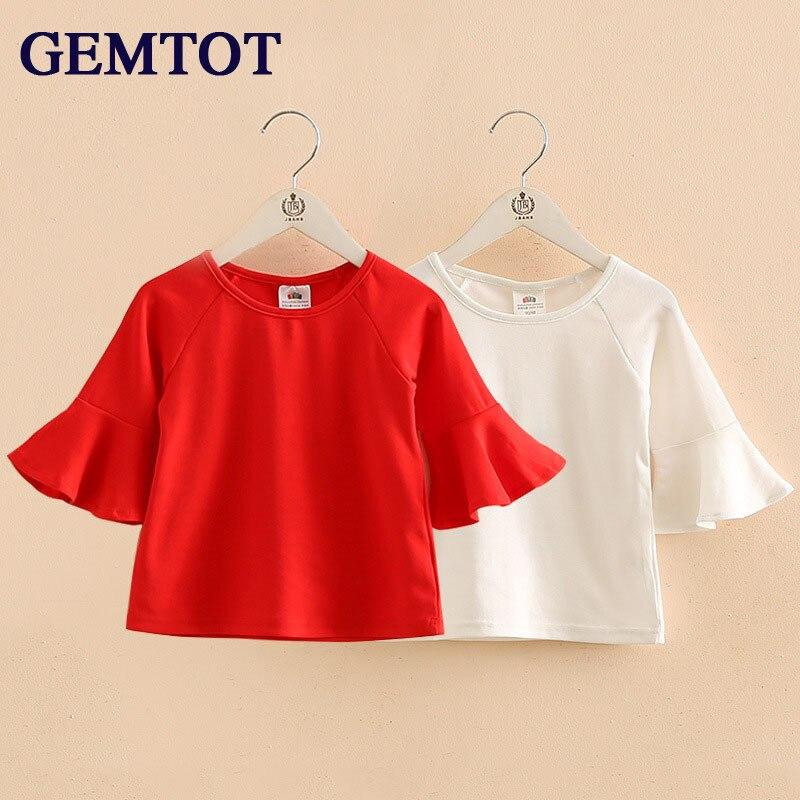 Girls T-Shirt Clothing Speaker-Sleeves Kids Children's Summer Small Korean GEMTOT Installed