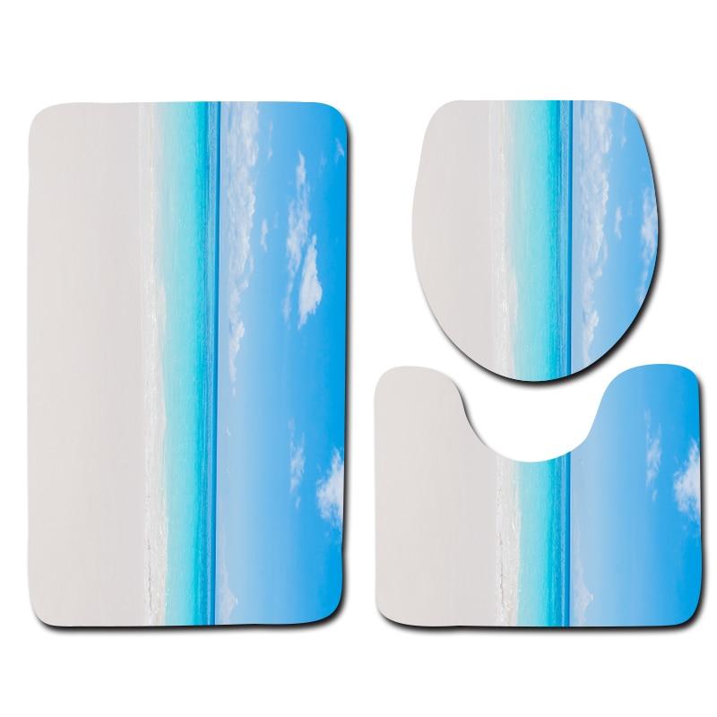 3pcs Anti Slip Bath Mat Sets Door Mat Blue Sky White