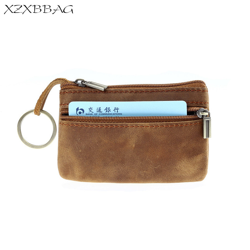 XZXBBAG Genuine Crazy Horse Cowhide Leather Coin Purse Men Zipper Small Wallet Male Change Purse Money Bag Keychain Zero Wallet men wallet male cowhide genuine leather purse money clutch card holder coin short crazy horse photo fashion 2017 male wallets