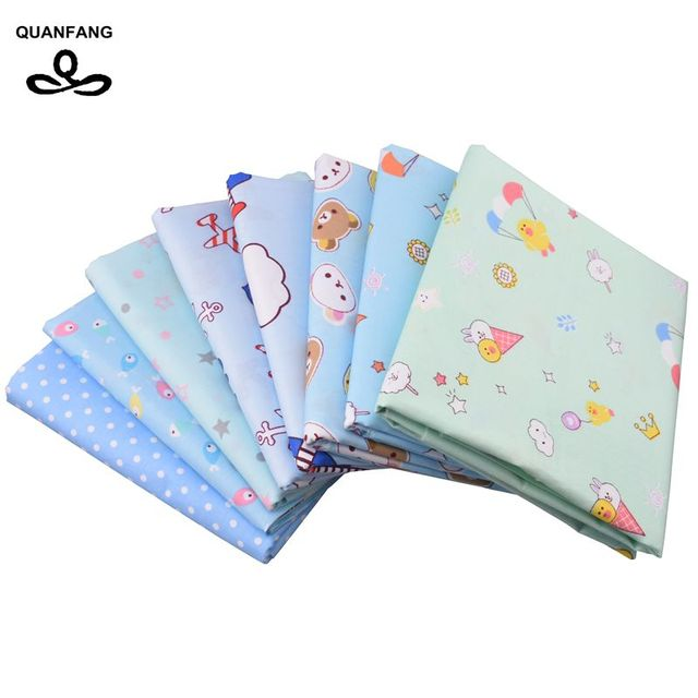 Quanfang 8pcslot Cartoon Patternprintedtwill Cotton Fabric For