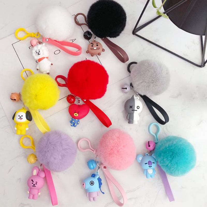 1 Pc Lovely Kpop Bts Bt21 Cartoon Fur Ball Keychain Plush Keychain Bag Pendant Accessories Keyring For Girls Plush Toy #1