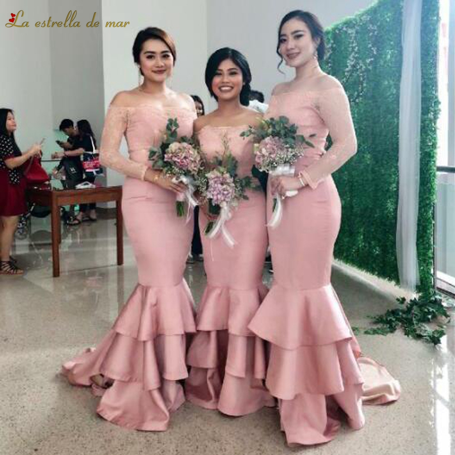 Robe demoiselle d'honneur2018 new lace Boat Neck long sleeve sexy mermaid blush pink   bridesmaids     dresses   long plus size wedding