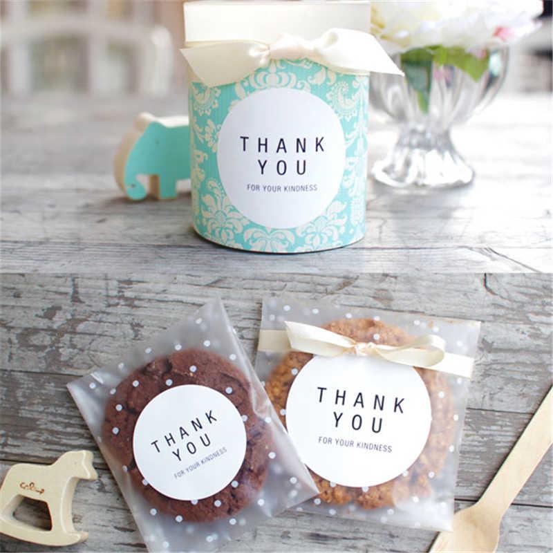 100 cái/lốc Nhựa Trong Suốt Cellophane Chấm bi Kẹo Bánh Tặng kèm DIY Tự Dính Túi Cưới Tiệc Sinh Nhật