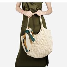 Canvas openwork mesh beach bag 2019 new trend fashion canvas woven female lady handbag large capacity shoulder